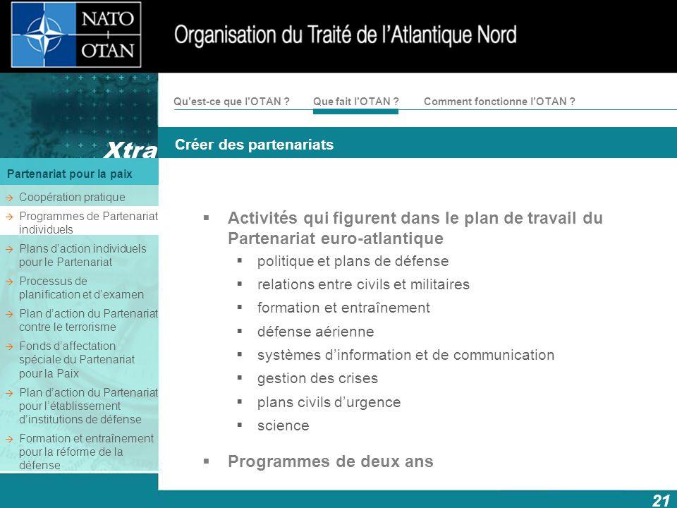 21 Xtra Créer des partenariats Partenariat pour la paix Comment fonctionne lOTAN ?Quest-ce que lOTAN ?Que fait lOTAN ? Activités qui figurent dans le