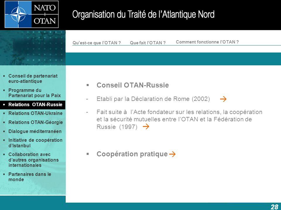 28 Comment fonctionne lOTAN ? Quest-ce que lOTAN ?Que fait lOTAN ? Conseil OTAN-Russie -Etabli par la Déclaration de Rome (2002) -Fait suite à lActe f