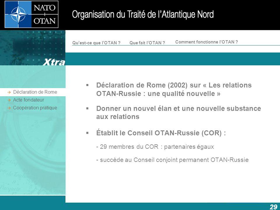 29 Comment fonctionne lOTAN ? Quest-ce que lOTAN ?Que fait lOTAN ? Déclaration de Rome (2002) sur « Les relations OTAN-Russie : une qualité nouvelle »