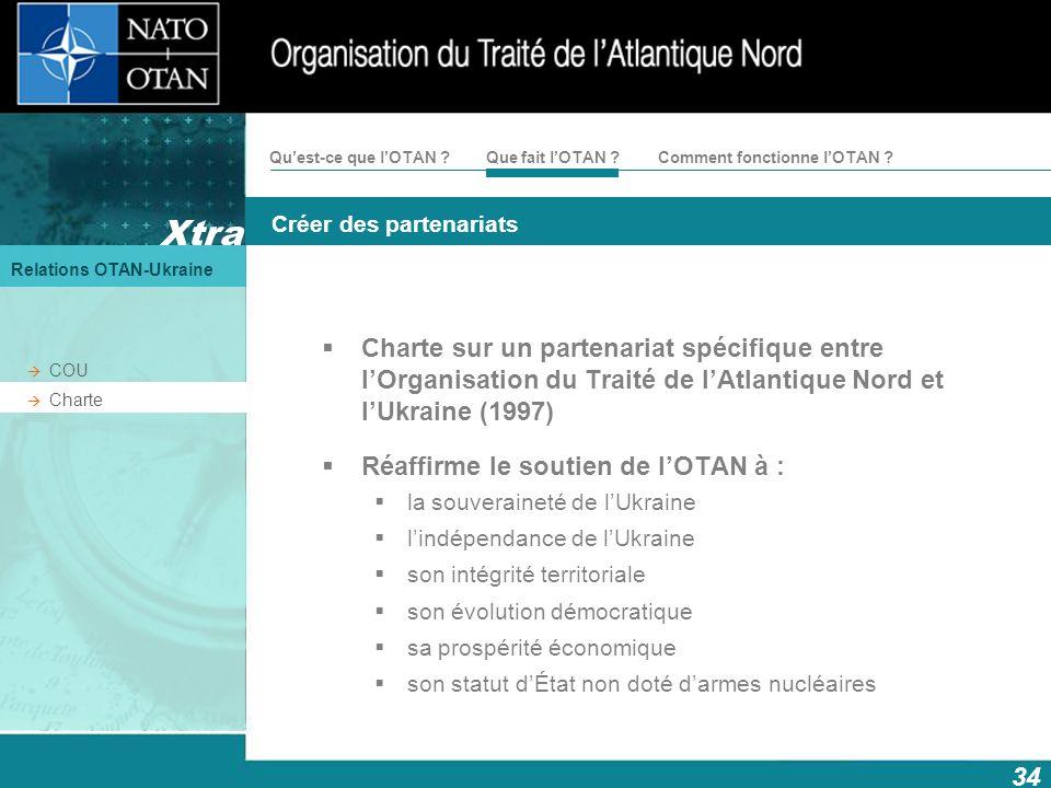 Xtra Créer des partenariats Relations OTAN-Ukraine 34 Comment fonctionne lOTAN ?Quest-ce que lOTAN ?Que fait lOTAN ? COU Charte Charte sur un partenar