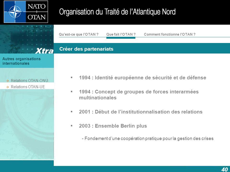 40 Créer des partenariats Xtra Autres organisations internationales Comment fonctionne lOTAN ?Quest-ce que lOTAN ?Que fait lOTAN ? 1994 : Identité eur