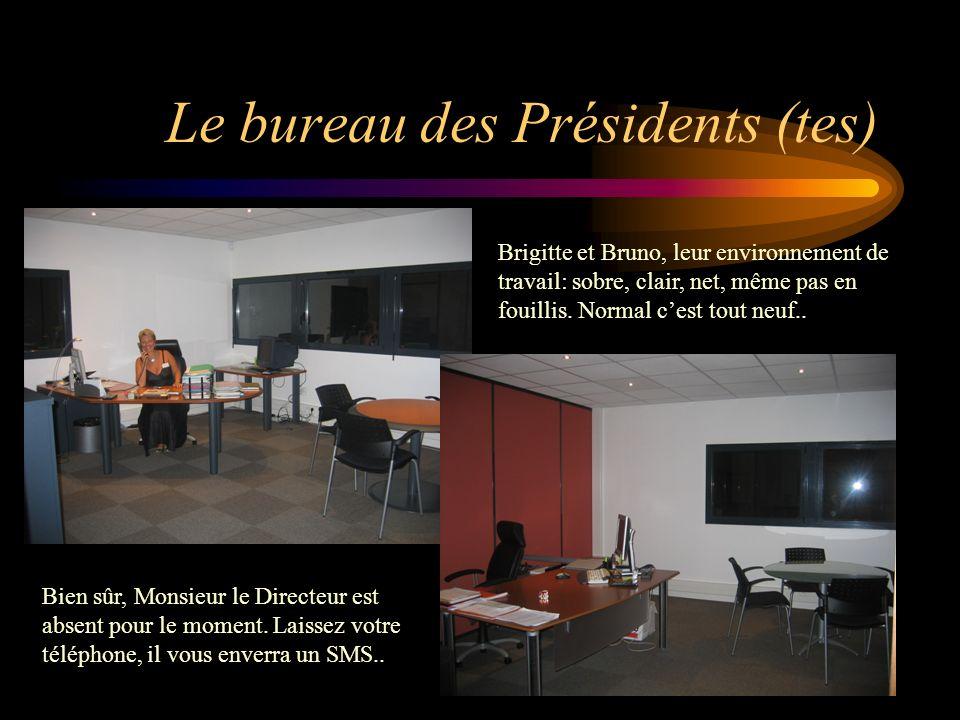 Le bureau des Présidents (tes) Brigitte et Bruno, leur environnement de travail: sobre, clair, net, même pas en fouillis. Normal cest tout neuf.. Bien