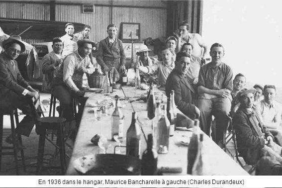 En 1936 dans le hangar, Maurice Bancharelle à gauche (Charles Durandeux)