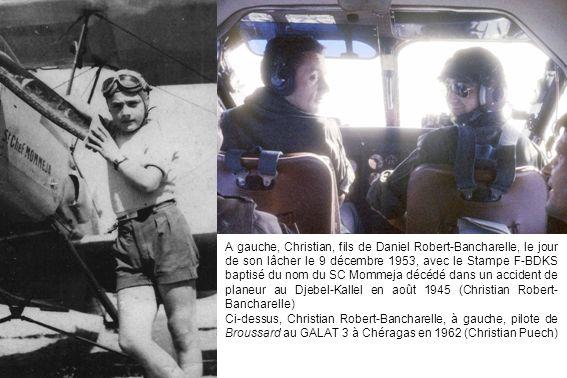 A gauche, Christian, fils de Daniel Robert-Bancharelle, le jour de son lâcher le 9 décembre 1953, avec le Stampe F-BDKS baptisé du nom du SC Mommeja d