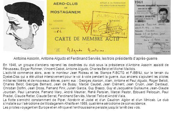 Antoine Assorin, Antoine Algudo et Ferdinand Serviès, les trois présidents daprès-guerre En 1946, un groupe danciens reprend les destinées du club sou