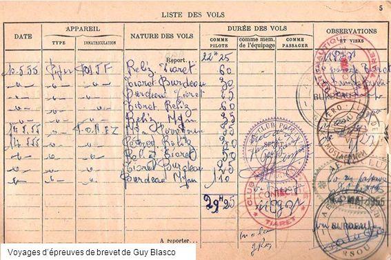 Voyages dépreuves de brevet de Guy Blasco