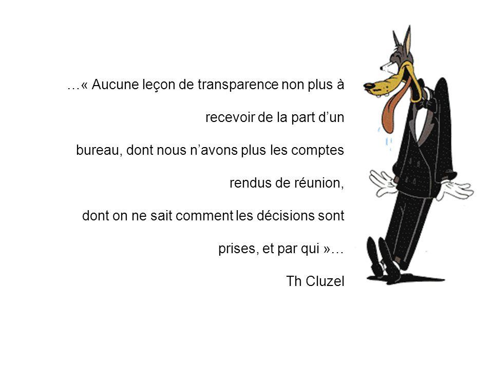 …« Aucune leçon de transparence non plus à recevoir de la part dun bureau, dont nous navons plus les comptes rendus de réunion, dont on ne sait comment les décisions sont prises, et par qui »… Th Cluzel