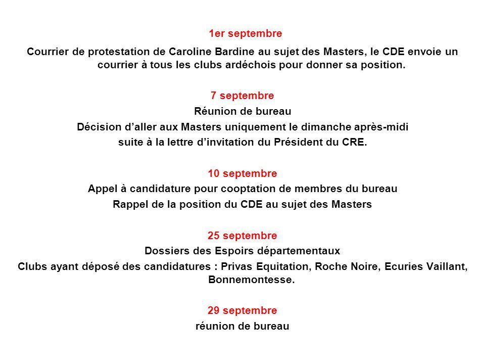 1er septembre Courrier de protestation de Caroline Bardine au sujet des Masters, le CDE envoie un courrier à tous les clubs ardéchois pour donner sa position.