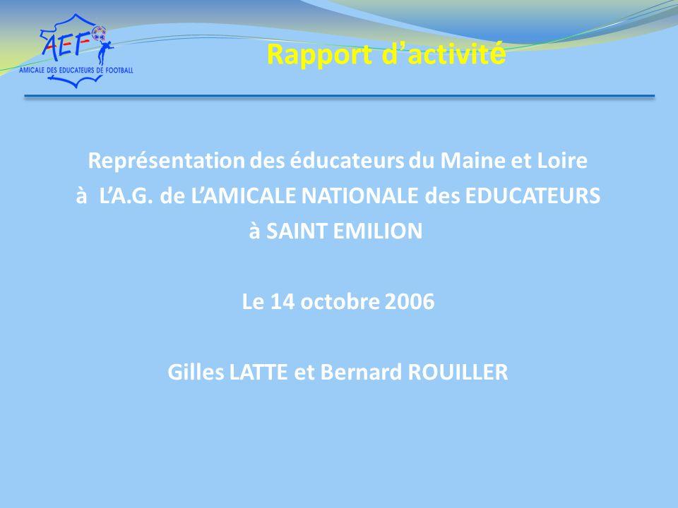 Représentation des éducateurs du Maine et Loire à LA.G. de LAMICALE NATIONALE des EDUCATEURS à SAINT EMILION Le 14 octobre 2006 Gilles LATTE et Bernar