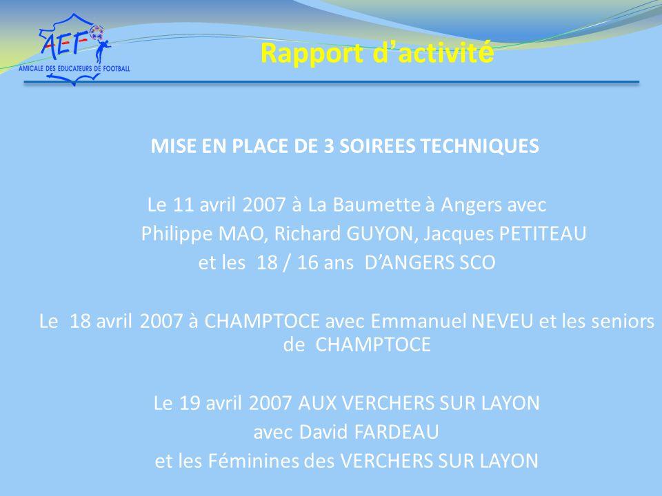 MISE EN PLACE DE 3 SOIREES TECHNIQUES Le 11 avril 2007 à La Baumette à Angers avec Philippe MAO, Richard GUYON, Jacques PETITEAU et les 18 / 16 ans DA