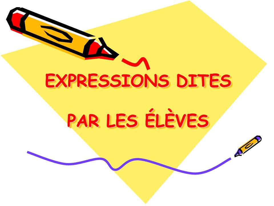 EXPRESSIONS DITES PAR LES ÉLÈVES