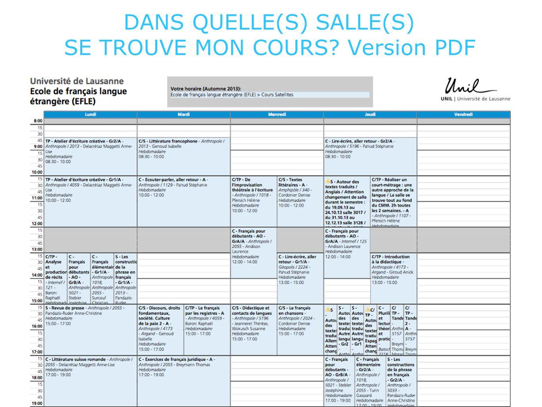 DANS QUELLE(S) SALLE(S) SE TROUVE MON COURS Version PDF