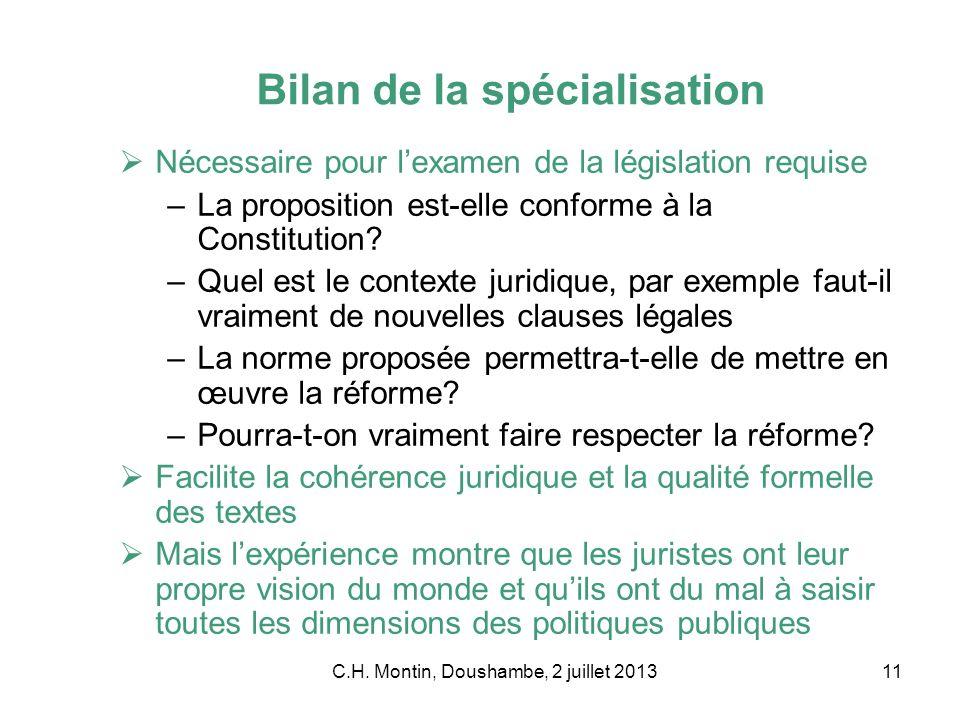 C.H. Montin, Doushambe, 2 juillet 201311 Bilan de la spécialisation Nécessaire pour lexamen de la législation requise –La proposition est-elle conform