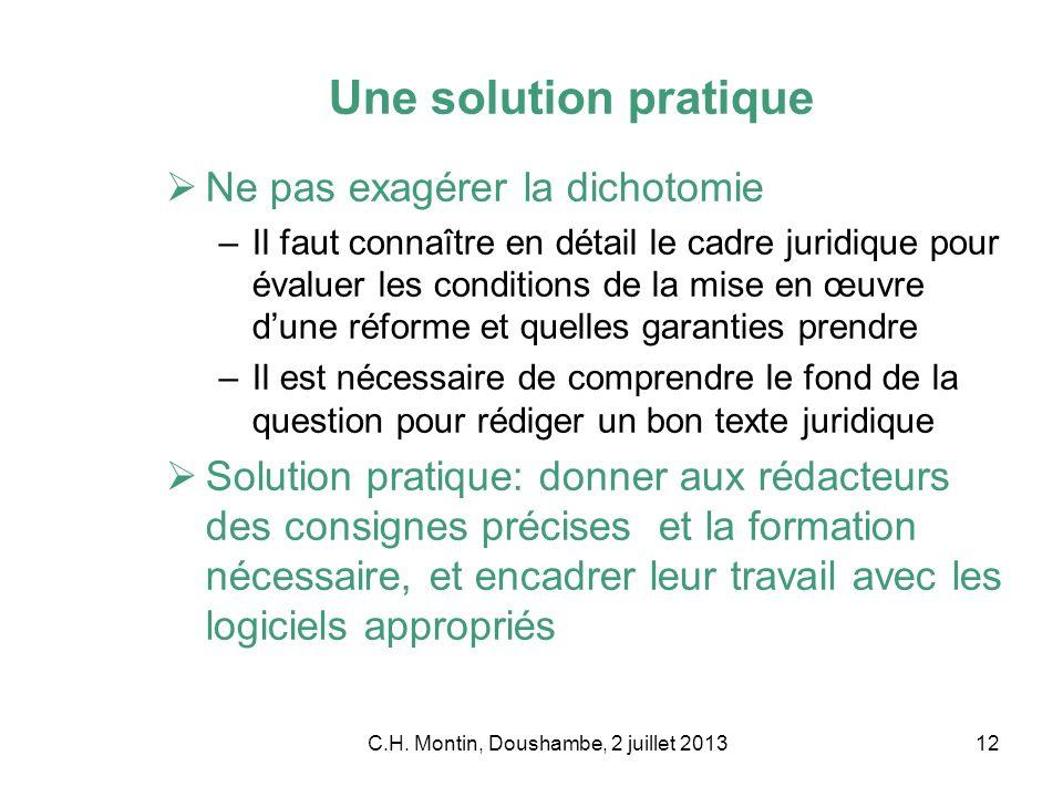 C.H. Montin, Doushambe, 2 juillet 201312 Une solution pratique Ne pas exagérer la dichotomie –Il faut connaître en détail le cadre juridique pour éval