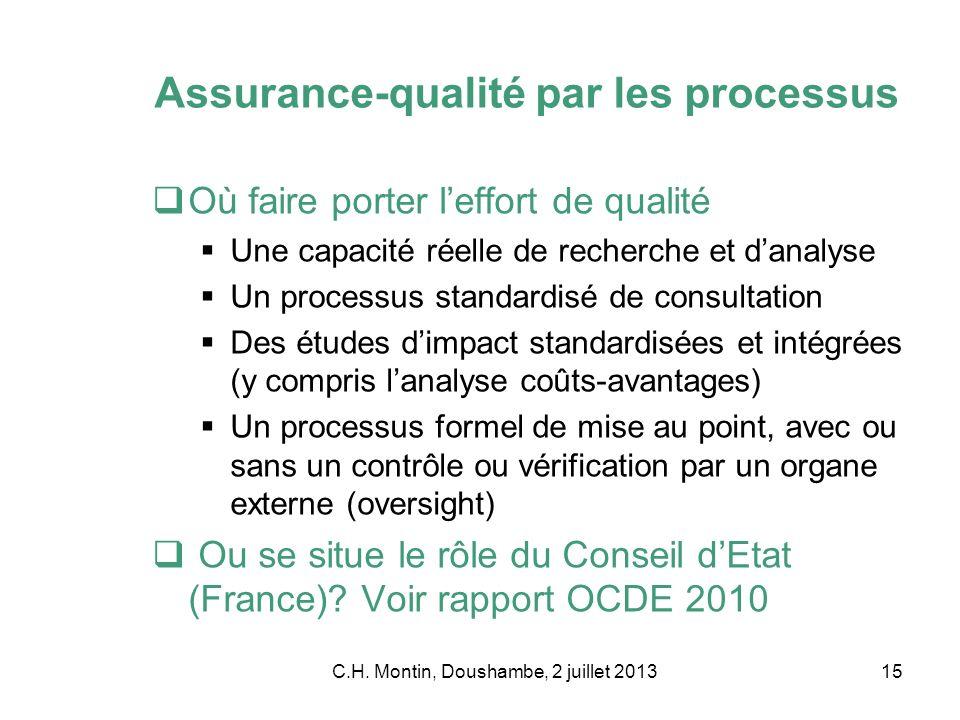 C.H. Montin, Doushambe, 2 juillet 201315 Assurance-qualité par les processus Où faire porter leffort de qualité Une capacité réelle de recherche et da