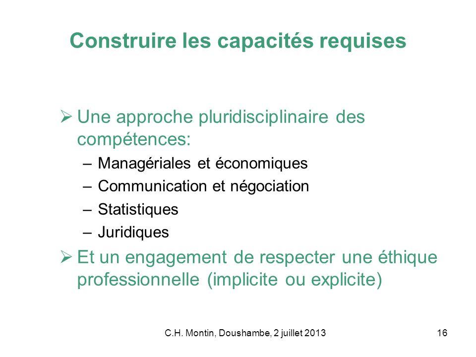 C.H. Montin, Doushambe, 2 juillet 201316 Construire les capacités requises Une approche pluridisciplinaire des compétences: –Managériales et économiqu