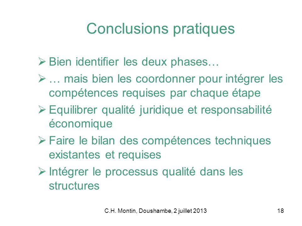 C.H. Montin, Doushambe, 2 juillet 201318 Conclusions pratiques Bien identifier les deux phases… … mais bien les coordonner pour intégrer les compétenc