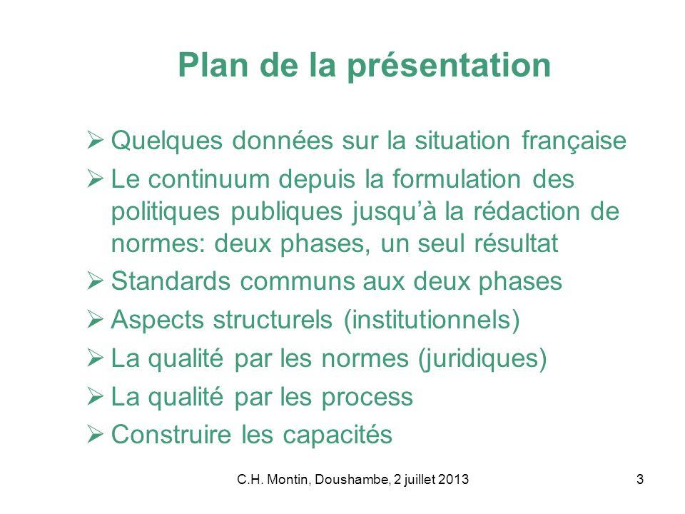 C.H. Montin, Doushambe, 2 juillet 20133 Plan de la présentation Quelques données sur la situation française Le continuum depuis la formulation des pol