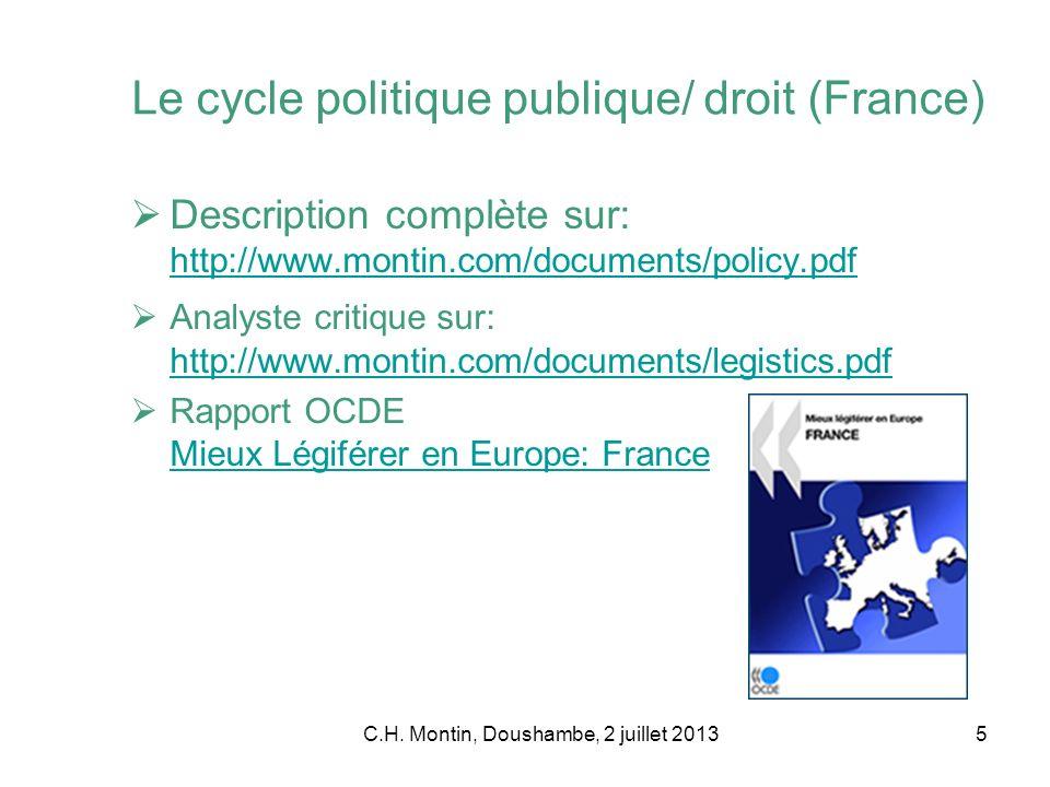 C.H. Montin, Doushambe, 2 juillet 20135 Le cycle politique publique/ droit (France) Description complète sur: http://www.montin.com/documents/policy.p