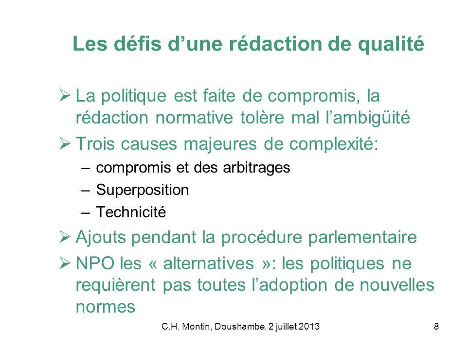 C.H. Montin, Doushambe, 2 juillet 20138 Les défis dune rédaction de qualité La politique est faite de compromis, la rédaction normative tolère mal lam