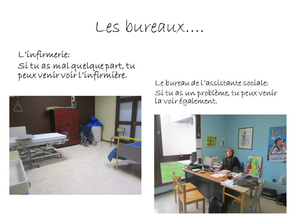 Les bureaux…. Linfirmerie: Si tu as mal quelque part, tu peux venir voir linfirmière. Le bureau de lassistante sociale: Si tu as un problème, tu peux