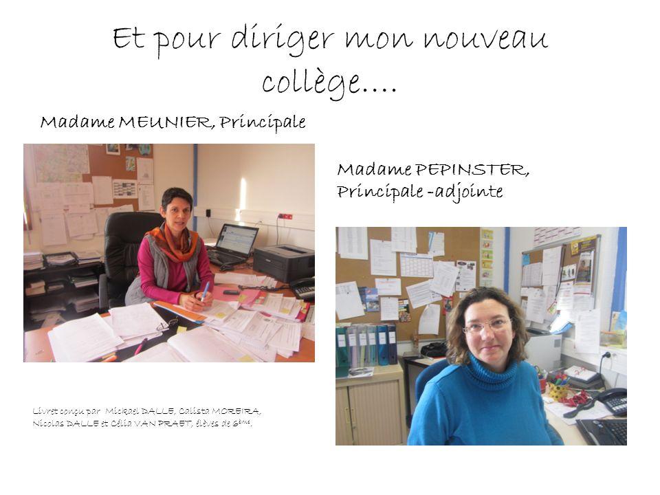 Et pour diriger mon nouveau collège…. Madame MEUNIER, Principale Madame PEPINSTER, Principale -adjointe Livret conçu par Mickael DALLE, Calista MOREIR
