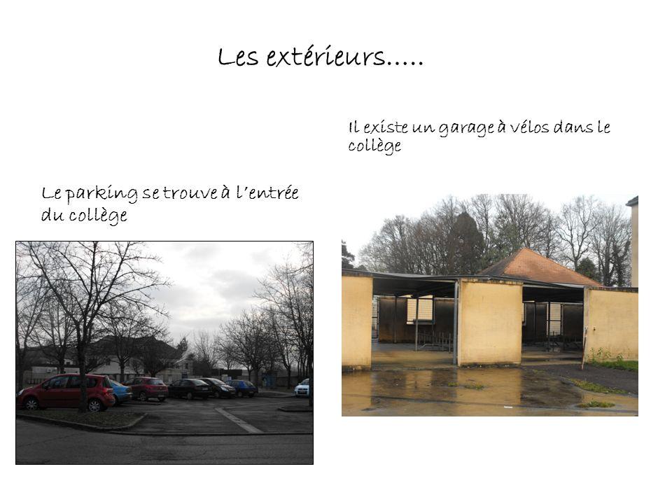 Le parking se trouve à lentrée du collège Il existe un garage à vélos dans le collège Les extérieurs…..