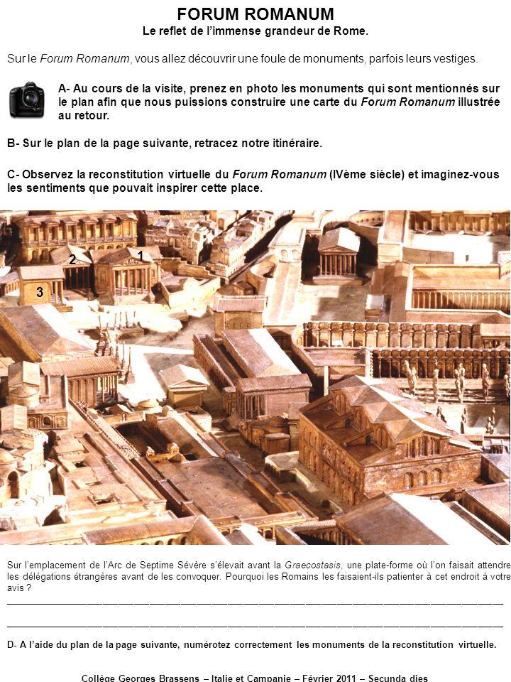 1-Temple de Vespasien 2-Temple de la Concorde 3-Temple de Saturne 4- Rostres (élèves de troisième, noubliez pas de déclamer solennellement la première catilinaire de Cicéron) 5- Basilique Julia 16- Curie 6-Temple des Dioscures 7- Temple de César 17- Arc de Septime Sévère 15- Regia 14- Temple dAntonin et Faustine 8- Temple de Vesta 9- Maison des Vestales 13-Temple de Romulus 12- Basilique de Constantin 11- Temple de Venus et Rome 10- Arc de Titus FORUM ROMANUM Le reflet de limmense grandeur de Rome.