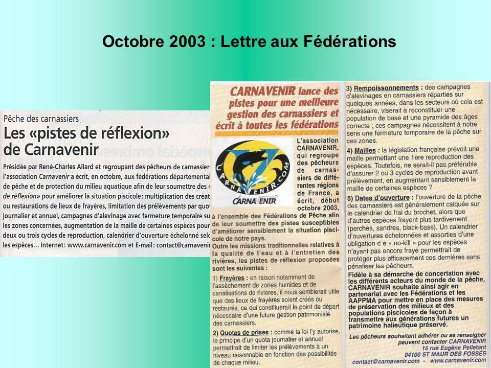 Octobre 2003 : Lettre aux Fédérations
