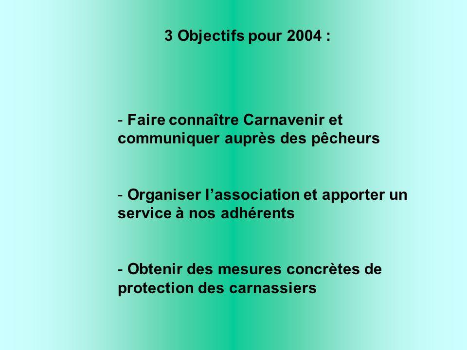 3 Objectifs pour 2004 : - Faire connaître Carnavenir et communiquer auprès des pêcheurs - Organiser lassociation et apporter un service à nos adhérents - Obtenir des mesures concrètes de protection des carnassiers