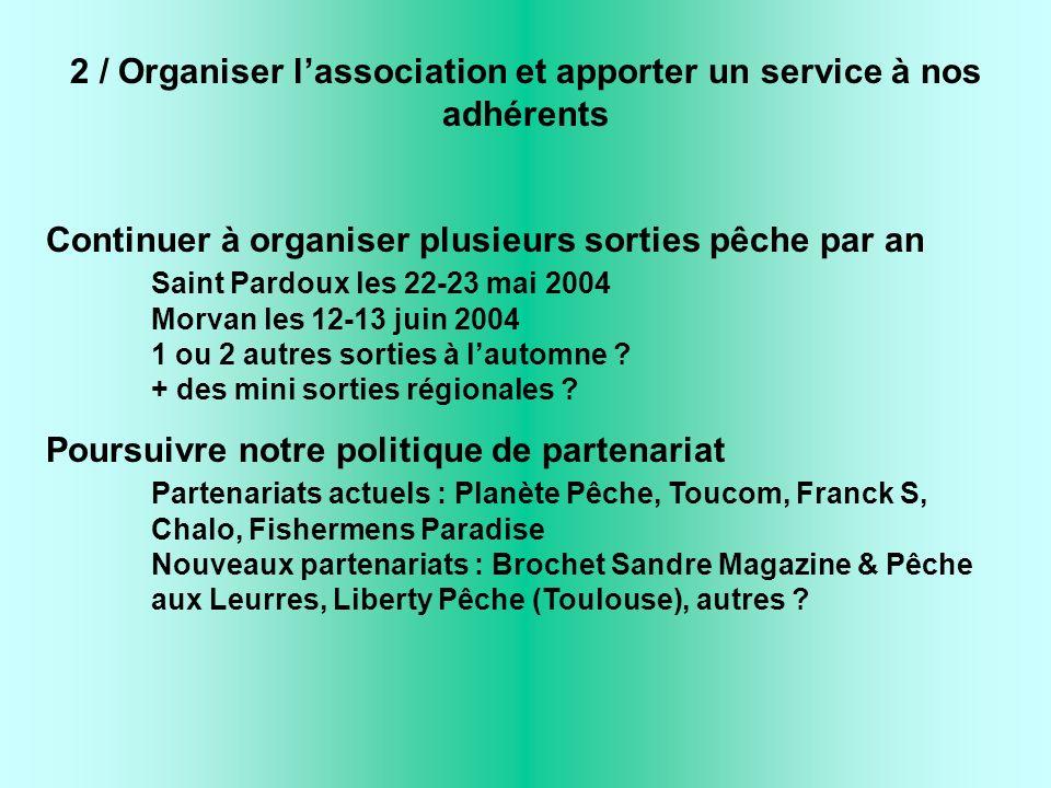 2 / Organiser lassociation et apporter un service à nos adhérents Continuer à organiser plusieurs sorties pêche par an Saint Pardoux les 22-23 mai 200