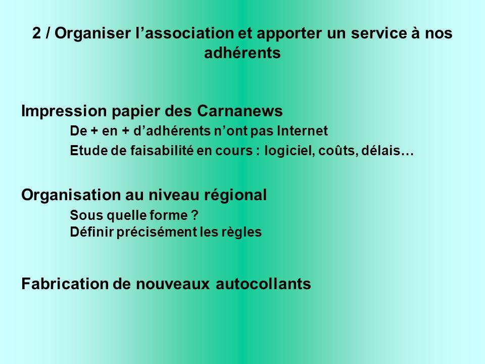 2 / Organiser lassociation et apporter un service à nos adhérents Impression papier des Carnanews De + en + dadhérents nont pas Internet Etude de fais