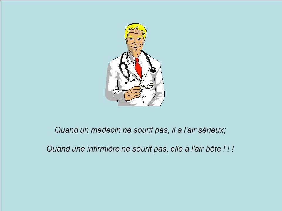 Quand un médecin ne sourit pas, il a l air sérieux; Quand une infirmière ne sourit pas, elle a l air bête .
