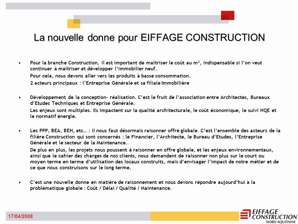 La nouvelle donne pour EIFFAGE CONSTRUCTION Pour la branche Construction, il est important de maîtriser le coût au m², indispensable si lon veut continuer à maîtriser et développer limmobilier neuf.