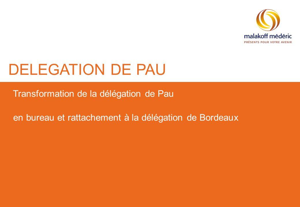 Présentation de..., du...2 Projet de transformation de la Délégation de Pau en bureau rattaché à la Délégation de Bordeaux Exercice commercial 2012
