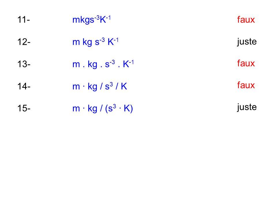 11-mkgs -3 K -1 12-m kg s -3 K -1 13-m. kg. s -3. K -1 14-m · kg / s 3 / K 15-m · kg / (s 3 · K) faux juste faux