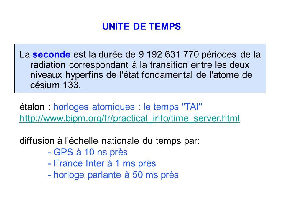 UNITE DE TEMPS La seconde est la durée de 9 192 631 770 périodes de la radiation correspondant à la transition entre les deux niveaux hyperfins de l'é