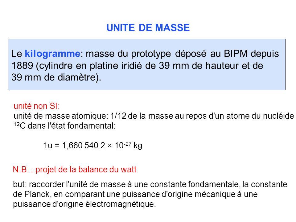 UNITE DE MASSE Le kilogramme: masse du prototype déposé au BIPM depuis 1889 (cylindre en platine iridié de 39 mm de hauteur et de 39 mm de diamètre).
