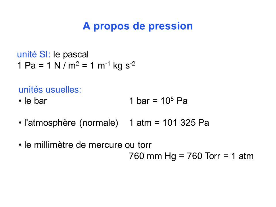 A propos de pression unité SI: le pascal 1 Pa = 1 N / m 2 = 1 m -1 kg s -2 unités usuelles: le bar1 bar = 10 5 Pa l'atmosphère (normale) 1 atm = 101 3