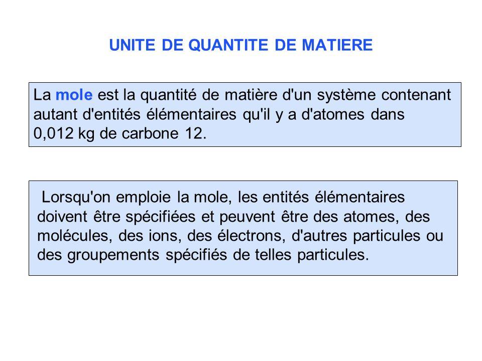 UNITE DE QUANTITE DE MATIERE La mole est la quantité de matière d'un système contenant autant d'entités élémentaires qu'il y a d'atomes dans 0,012 kg
