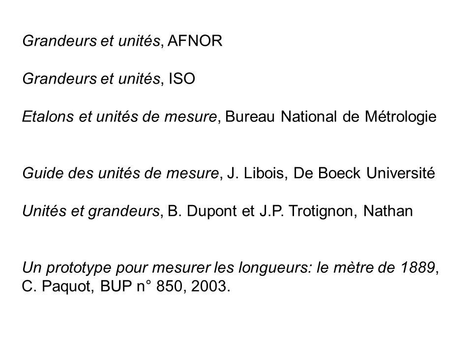 Grandeurs et unités, AFNOR Grandeurs et unités, ISO Etalons et unités de mesure, Bureau National de Métrologie Guide des unités de mesure, J. Libois,