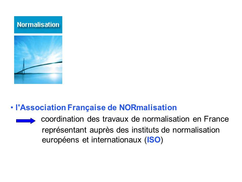l'Association Française de NORmalisation coordination des travaux de normalisation en France représentant auprès des instituts de normalisation europé