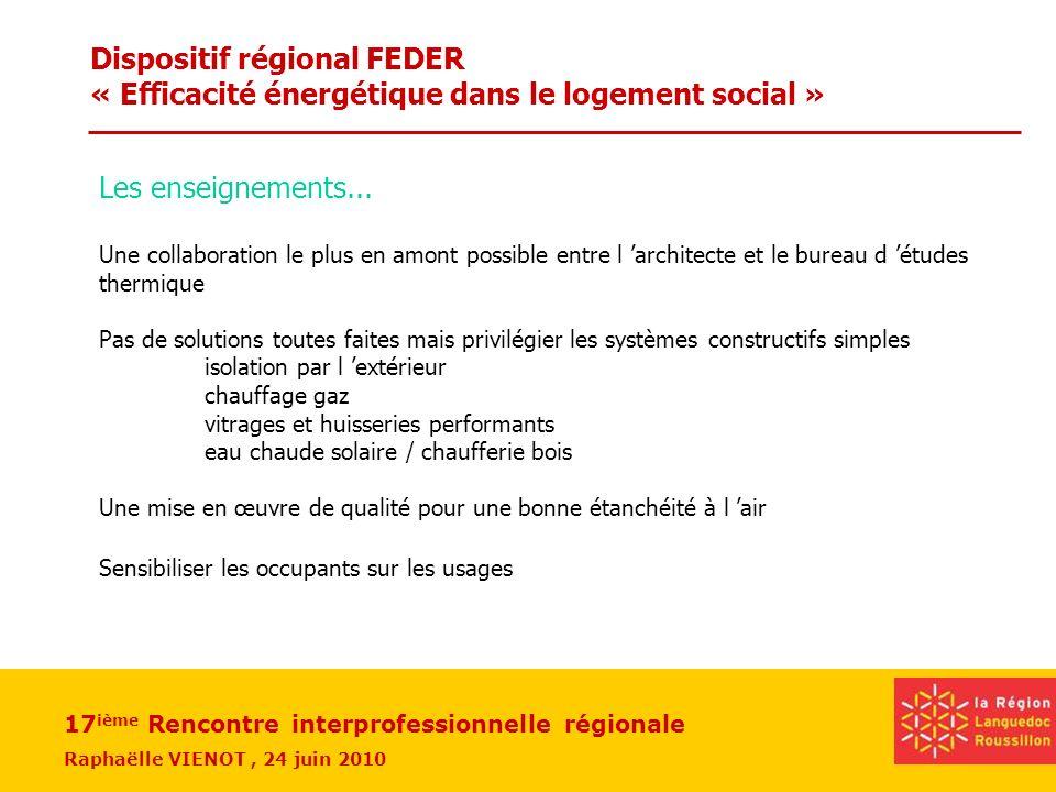 17 ième Rencontre interprofessionnelle régionale Raphaëlle VIENOT, 24 juin 2010 Dispositif régional FEDER « Efficacité énergétique dans le logement so