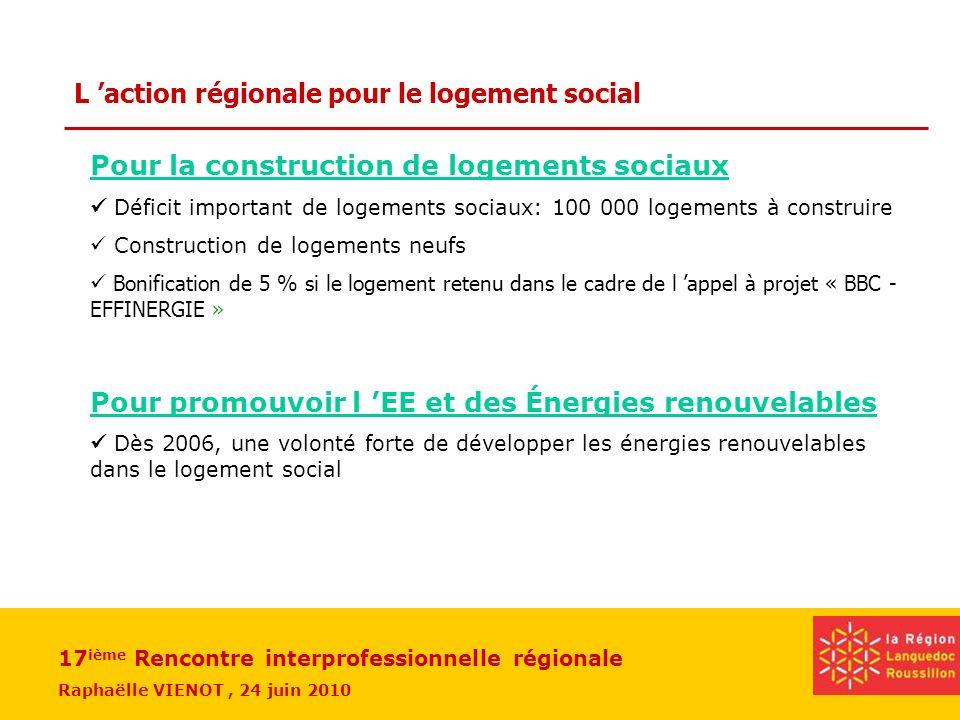 17 ième Rencontre interprofessionnelle régionale Raphaëlle VIENOT, 24 juin 2010 Bilan 2009 Depuis 2006 plus de 8000 logements équipés en bois- énergie ou solaire thermique 455 logements BBC (dont 308 en rénovation)