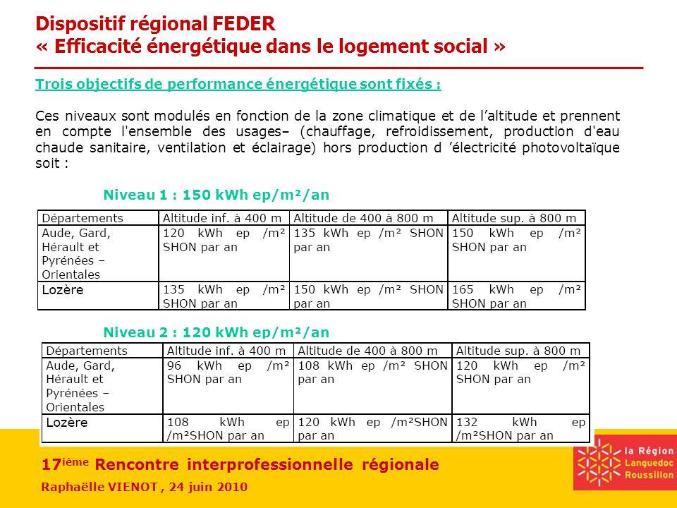 17 ième Rencontre interprofessionnelle régionale Raphaëlle VIENOT, 24 juin 2010 Trois objectifs de performance énergétique sont fixés : Ces niveaux so