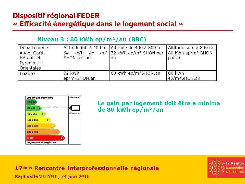 17 ième Rencontre interprofessionnelle régionale Raphaëlle VIENOT, 24 juin 2010 Niveau 3 : 80 kWh ep/m²/an (BBC) Le gain par logement doit être a mini