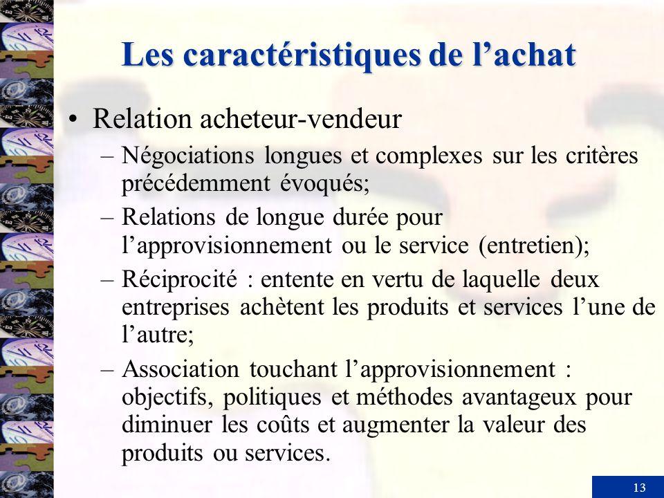 13 Les caractéristiques de lachat Relation acheteur-vendeur –Négociations longues et complexes sur les critères précédemment évoqués; –Relations de lo