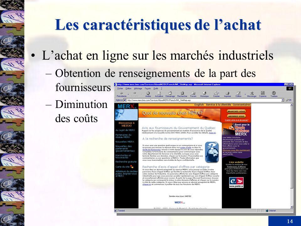 14 Les caractéristiques de lachat Lachat en ligne sur les marchés industriels –Obtention de renseignements de la part des fournisseurs –Diminution des