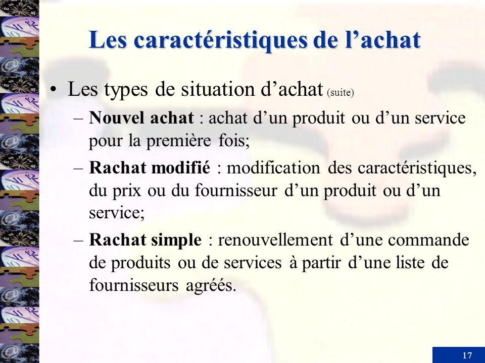 17 Les caractéristiques de lachat Les types de situation dachat (suite) –Nouvel achat : achat dun produit ou dun service pour la première fois; –Racha