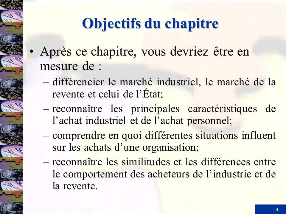 3 Objectifs du chapitre Après ce chapitre, vous devriez être en mesure de : –différencier le marché industriel, le marché de la revente et celui de lÉ